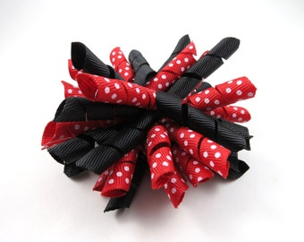 Black and Red Polka Dot Korker Hair Bow  -  Black Korker Bow - Red Polka Dot Korker Bow - Korker Hair Clip - Korker -  Black and Red Bow