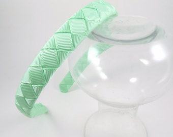 Mint Green Headband - Light Green Headband - Mint - Ribbon Woven Headband - Hard Plastic Headband - Child Toddler Teenager Adult Headband