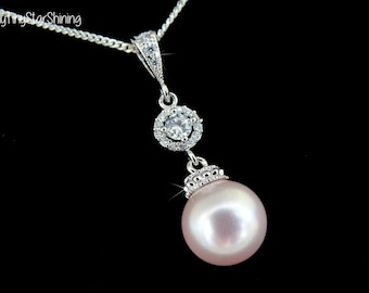 PINK Pearl Necklace Pearl Sterling silver Necklace Bridal Necklace Rosaline Pink Pearl Jewelry Bridesmaids Gift Cubic Zirconia