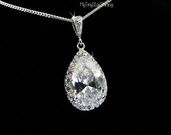 Bridal Necklace Large Clear White Teardrop Pendant Cubic Zirconia Necklace wedding necklace bridal jewelry Teardrop Necklace