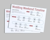 Wedding Weekend or Day of the Wedding Timeline - Customizable Printable PDF