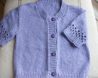 Girls Lilac Short Sleeve Cardigan