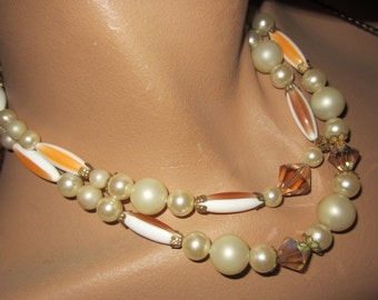 Orange Beaded Necklace Multi Strand Choker with Crystal Faux Pearl and Orange Stripe Beads - 2 Strand
