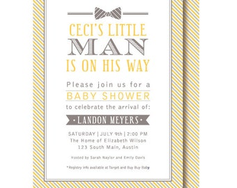 Little Man Bow Tie Baby Shower Invitations, Yellow and Gray Invitation, Printed or Printable
