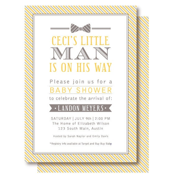 little man bow tie baby shower invitations yellow and gray invitation