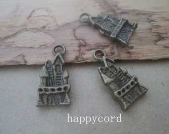 25pcs of  Antique Bronze castle Charms 10mmx20mm