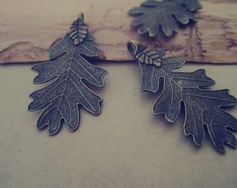 10pcs of  Antique Bronze leaves pendant charm 26mmx49mm