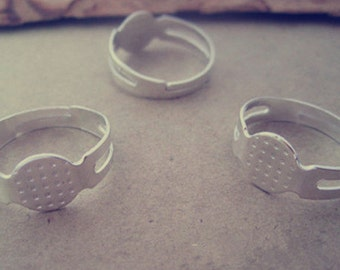 25 pcs silver color  8mm adjustable ring bases