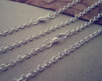 10pcs 65cm Silver color round shape  Link  chain 3mmx3mm