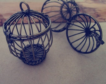 2pcs Antique bronze birdcage charm 30mmx43mm