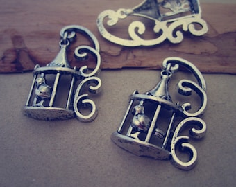 12pcs Antique silver bird cage charm 20mmx34mm