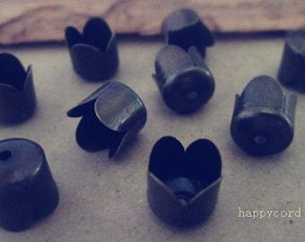 20 pcs 8mm of antique bronze beads cap