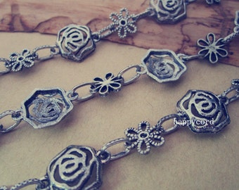 3.28ft  Rose flower  Metal Chain Antique silver
