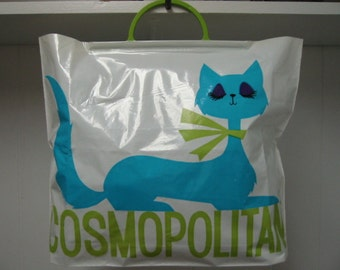 """vintage Cosmopolitan magazine  plastic tote bag featuring the Cosmo iconic cat called """"Lovey""""  . . .  excellent, never used condition"""