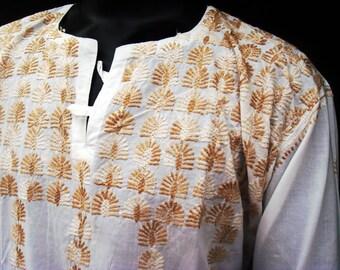 Tribal shirt men, medieval tunic, rustic shirt, hippie clothes, viking tunic, long sleeve loose shirt, mens linen shirt, boho men top, sale