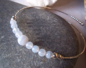Silver Bangle, Blue Lace agate and sterling silver