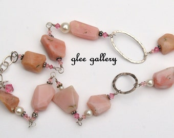 """18"""" - 21"""" Sterling Peruvian Pink Opal Necklace with Freshwater Pearls Rose Swarovski crystals technique is wireworking wirewrapped"""