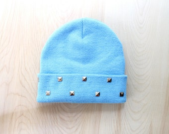 Light Blue Studded Knit Beanie- One Size Adult