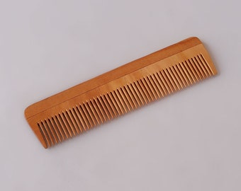 "Handcrafted Neem Wood Comb - Anti Dandruff, Non-Static and Eco-friendly- Great for Scalp and Hair health -7"" Fine toothed"