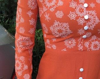 Burnt orange Mister Ronald 1970s long sleeve dress - Sz S, M