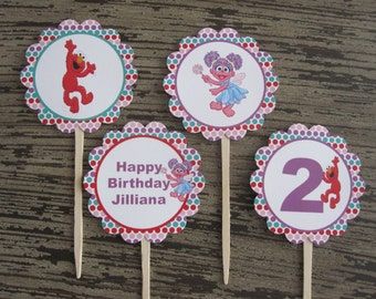 Abby and Elmo Personalize Cupcake Toppers