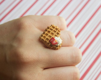 waffle ring kawaii polymer clay charms miniature food jewelry polymer clay food ring heart waffle breakfast food whipped cream waffle charm
