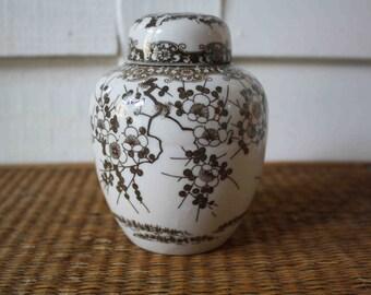 Vintage ginger jar, brown and white