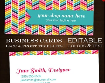 chevron business cards etsy. Black Bedroom Furniture Sets. Home Design Ideas