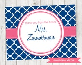 Bridal Shower Thank You Note - Printable Quatrefoil Thank You - Colors and Text Customizable