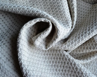 Honeycomb Wheat Color Linen Cotton Organic Fabric--Textured fabric-Softened prewashed fabric--DIY Projects