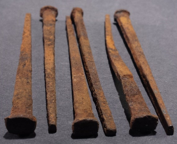 6 Antique Square Head Nails hand cut rusted by