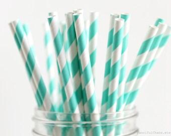 25 Turquoise Stripe Paper Straws - Garden Partys, Wedding, Birthday, Baby Shower, Celebrations