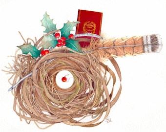 Dickens Christmas Carol watercolor painting nest holly art OOAK