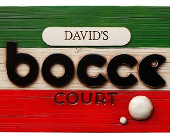 Italian Bocce Personalized Sign and Score Keeper