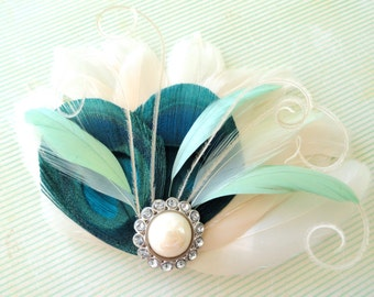 BREE Turquoise, Mint Green, and Ivory Feather Fascinator with Crystal and Pearl, Feather Hair Clip, Bridal Hair Piece