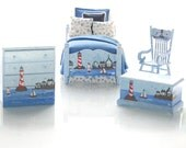 BY THE SHORE Nautical Dollhouse Miniature 1:12 - Hand-Painted 4pc Boy's Bedroom Custom Dressed Bed Set Sailing, Sailboat, Lighthouse