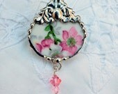 Broken China Jewelry Brooch Pin Pink Floral Chintz