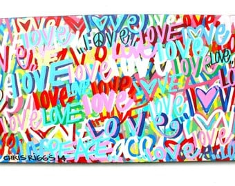 Mother's Day love original fine art canvas abstract word art modern contemporary street art signed painting