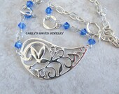 sapphire Swarovski, silver paisley focal, and chain necklace set, ready to ship, September birthstone, gifts for women gifts under 50