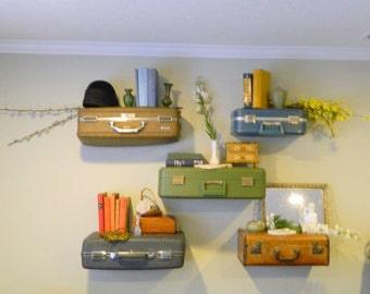 Vintage Suitcase Shelves / Suitcase Shelf Small / Display Shelving