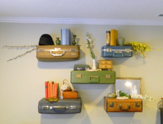 Vintage Suitcase Shelves / Suitcase Shelf Small / Display