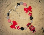 Pink Dress Minnie Mouse Inspired Chunky Bead Necklace