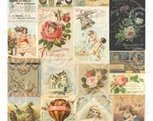 Printable Sheet of Vintage Fairy and Flower Ephemera - 1 Digital Collage Sheets as an instant Download File