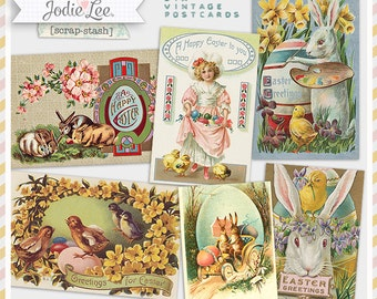 Set of Printable Vintage Easter Postcards - an instant Digital Download File by Jodie Lee Designs