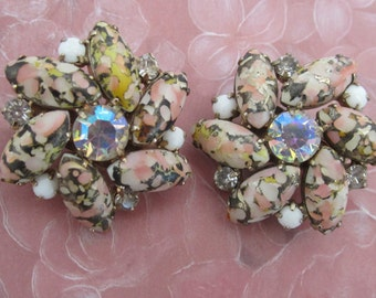 Hobe Vintage Glass, Floral Bead And  Rhinestone Clip Earrings With A Floral Design c1950
