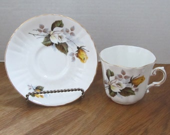 Vintage Royal Grafton Fine Bone China Fluted Tea Cup and Saucer 1950's