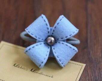 Nikkie's Felt Flower Ponytail Holder-Light Blue