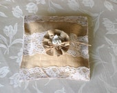Ring bearer pillow, Burlap wedding pillow, country chic wedding, rustic wedding