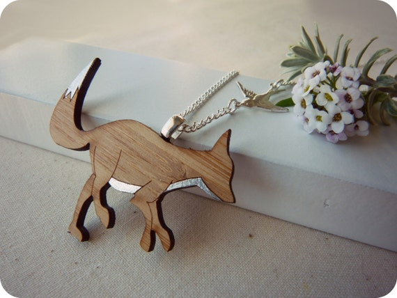 Silver fox necklace - fox pendant - laser cut wooden fox necklace - fox jewelry