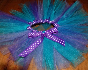 Child's Tutu - Purple & Turquoise with wrapped ribbon waist